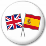 Great Britain and Spain Friendship Flag 25mm Pin Button Badge